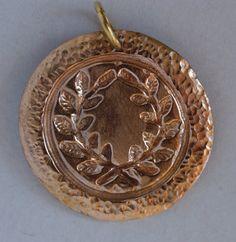 Golden Bronze Laurel Medallion with a Hand Hammered by irenedavis1, $40.00