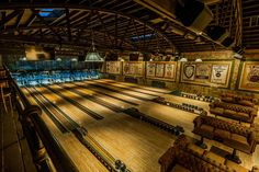 Steampunk Bowling in Los Angeles: The City of Angels is home to two (two!) bowling alleys with steampunk aesthetics Highland Park Bowl, Activities In Los Angeles, Home Bowling Alley, City Of Angels, Industrial, Location, Cool Pictures, Random Pictures, Restoration