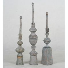 Privilege 3 Piece Decorative Finial Set in Stone Grey