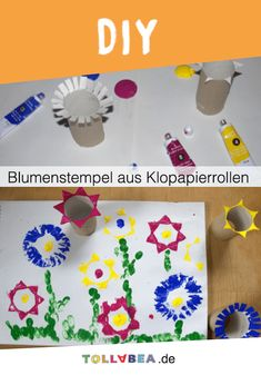 Blumenstempel aus Klopapierrollen Flower stamp made from toilet paper rolls - easy handicrafts in sp Cd Crafts, Toilet Paper Roll Crafts, Flower Crafts, Easter Crafts, Crafts To Sell, Diy And Crafts, Christmas Crafts, Crafts For Kids, Cardboard Crafts