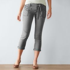 Women's SONOMA Goods for Life™ Tie Utility Capris, Size: 8, Grey (Charcoal)