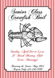 crawfish boil invitation with free response/details card on Etsy, only $10.00