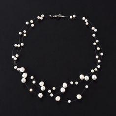 Illusion Necklace 3 Strand Potato White Freshwater Pearls FN1231 White Freshwater Pearl, Freshwater Pearl Necklaces, Pearl Jewelry, Jewlery, Floating Pearl Necklace, Diy Necklace, Cultured Pearls, Fresh Water, Jewelry Ideas