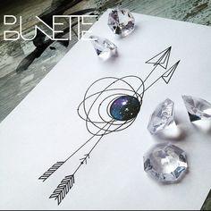Galaxy arrow geometric tattoo
