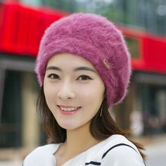 51114ce6a1c53 IDUOLELELE Good quality winter hats for women beanie winter mom s cap solid  beret Rabbit hair