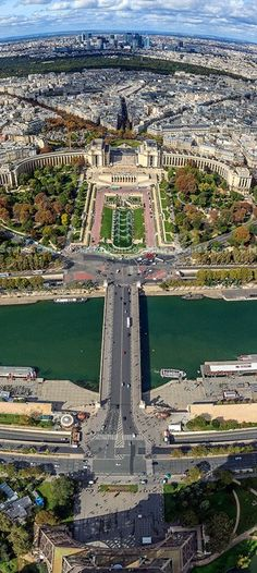 View from the tip of Eiffel Tower, Paris.  Click through the link for a larger & more detailed image.