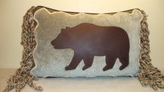 """Leather Bear Pillow on Pale Teal/Mint Chenille with Rustic Details and Chenille Rope Fringe and Down Fill.  12"""" x 18"""" (Made to Order)"""
