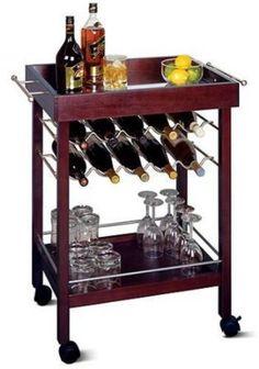 Rolling Bar Cart 10-Bottle Storage Shelf Bottles Organizer Home Office Furniture