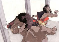 Bruce Leroy vs Sho'nuff by Shaun O'Neil www.comicartfans.com