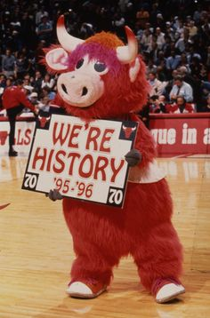Benny the Bull excited about the 70th win of the '95-'96 Season
