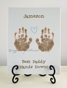 Father's Day Gift, Best Daddy Hands Down, Boy Handprint & Footprint Pottery Keepsake 60
