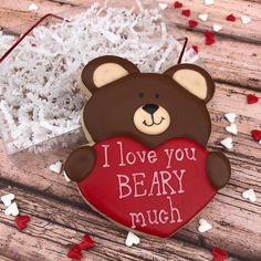 Bear Valentines, Valentines Day Desserts, Valentine Cookies, Valentine Ideas, Bear Cookies, Cut Out Cookies, Iced Cookies, Wedding Cookies, Cookie Designs