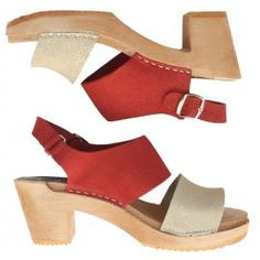 Funkis open toe clog, natural and red suede