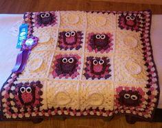 Crochet Owl Blanket, Owl Afghan, Owl Blanket, Crochet Afghan, Nursery, Baby Blanket, Owl, Blanket, Afghan, Owl Baby Blanket - Made to Order