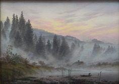 Caspar David Friedrich, Il ciclo delle ore del giorno: Il mattino - Tageszeiten-Zyklus: Der Morgen, 1821 ca. Olio su tela, 22 × 30,5, Hannover, Niedersächsisches Landesmuseum