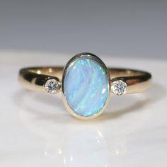 Natural Australian Boulder Opal and Diamond Gold Ring - Size 7 Code - RL28 10k Gold Ring, Gold Diamond Rings, Gold Rings, Gemstone Rings, Natural Opal, Natural Diamonds, Gold Ring Designs, Opal Color, Australian Opal