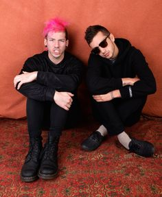 LR Josh Dunn and Tyler Joseph of Twenty One Pilots pose for portraits during the 2014 Boston Calling Music Festival attended by 45000 fans at Boston...