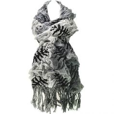 GORGEOUS BLACK WHITE FLORAL LEAF CHUNKY KNIT FLORAL BUBBLE SCARF NEW IN