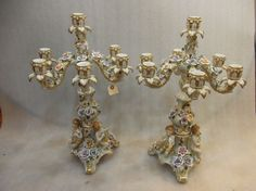 Beautiful Pair of Dresden Fine Porcelain Candelabras with Children and Flowers