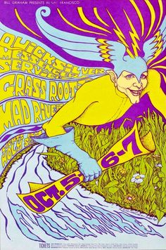 Quicksilver Messenger Service, Grass Roots and Mad River at the Fillmore - 1967 concert poster