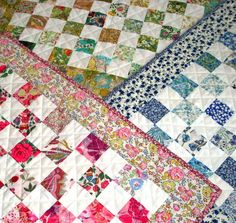 Liberty Lawn Quilt Kit -  Liberty of London tana lawn doll  quilt kit in pink, blue or bright. $20.00, via Etsy.