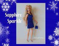 Barbie Fashionistas Doll kleding - Sexy Sapphire Sparkle JURK, PORTEMONNEE en sieraden - handgemaakte mode door dolls4emma
