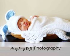Baby Set  Knit Cocoon and matching Bunny Hat fits by NoisyBoyz, $40.00