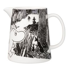 "Moomin Adventure Pitcher The great porcelain maker, Arabia, has once again added another piece to its already extravagant Moomin collection with this cute glossy-finished pitcher. A part of the new ""Moomin Adventure"" series, t. Marimekko, Moomin Mugs, Water Carafe, Tove Jansson, Black And White Background, Nordic Home, Scandinavian Interior Design, Finland, Copenhagen"