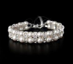 Bridal Pearl Bracelet Cuff Two Strand Wedding Jewelry Swarovski Pearl Cubic Zirconia Vintage B04