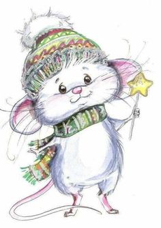 Little Christmas Mouse drawing. Christmas Drawing, Christmas Art, Vintage Christmas, Cute Images, Cute Pictures, Maus Illustration, Photo Illustration, Cute Mouse, Christmas Graphics