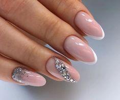 Cute Almond Nails, Cute Nails, Beautiful Nail Designs, Cute Nail Designs, Bridal Nails French, French Nails, New Nail Art Design, Glow Nails, Bride Nails