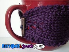 Knit Purple Mug Cozy by ButtonsandYarnOhMy