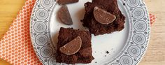 Melting middle chocolate orange brownies topped with Terry's miniature chocolate orange segments