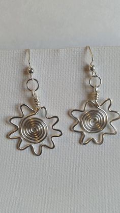 Sun earrings, sunburst earrings, drop earrings, wire wrapped, made in USA, hypo-allergenic