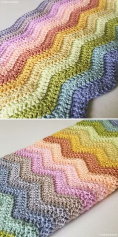 Neat Ripple Blanket by bytheseashore Stitch Crochet, Crochet Stitches, Knit Crochet, Crochet Hooks, Afghan Crochet Patterns, Chevron Crochet Blanket Pattern, Chevron Blanket, Baby Blanket Crochet, Baby Afghans