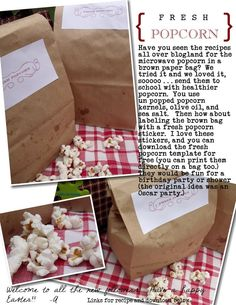 I'll never use the bagged stuff again. (use coconut oil for a healthier pop, with a smoother flavor) Brown Bag Popcorn, Pop Popcorn, Healthy Popcorn, Flavored Popcorn, Homemade Microwave Popcorn, Backyard Movie Party, Brown Bags, Pine Cones, Nom Nom
