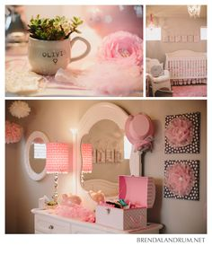 Gray and pink little girls nursery photographed by Brenda Landrum of Fort Collins Colorado.