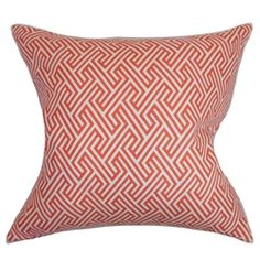 """This geometric accent pillow is a beautiful addition to your living room or bedroom. This square pillow adds a pop of color when placed on your sofa, bed or seat. The contrasting shades of coral red and white makes this 18"""" a gorgeous statement piece. Mix and match solids and other patterns with this decor pillow. Crafted with 100% high-quality cotton material. $55.00"""