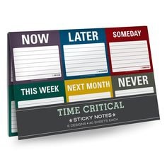 Knock Knock's Time Critical Sticky Note Packets are great gifts for coworkers. Funny sticky notes in 6-packs keep your desk organized—and you on task. #dressyourdesk