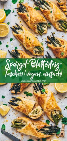 Asparagus puff pastry pockets with cheese (Vegan & Easy) - Bianca Zapatka Brunch, Le Diner, Evening Meals, Tortellini, Food Items, A Food, Easy Meals, Vegetarian, Stuffed Peppers