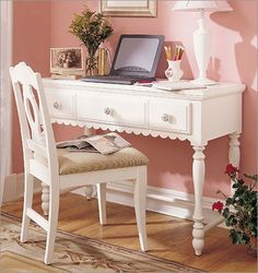 Painted white writing desk and/or vanity.