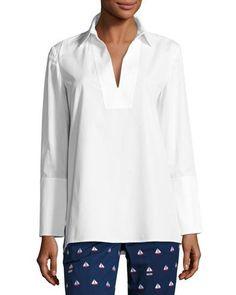 TORY BURCH Tatum Long-Sleeve Cotton Tunic, White. #toryburch #cloth #