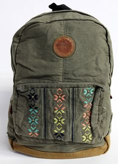 This bag features a washed down olive color complete with front pocket an inside laptop pocket.