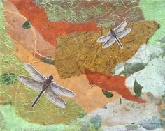 """Photo: DRAGONFLIES Mixed Media Assemblage on Canvas 8"""" x 10"""""""