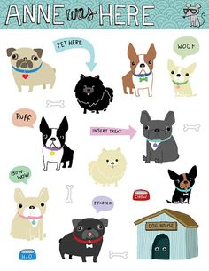 Doodle Puppies - Digital Clip Art - Illustration