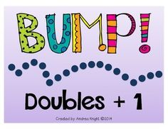 BUMP! Doubles +1: This fun, kinesthetic math activity includes 3 separate sets in this download... sums to 9, sums to 19, and sums to 29. The slides are engaging and help children increase their math fluency in a fun, active way. $ #mathgames #doublesplusone #addition