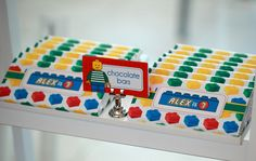 Candy Bar Party Favors at a Lego Party #lego #partyfavors