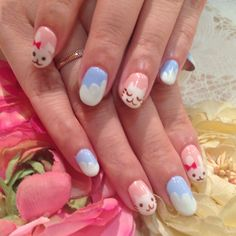 うさぎとネコのネイル rabbit & cat nail art   #cat #nails #cute #kitty #rabbit
