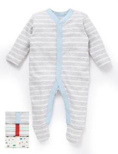 Pure cotton sleepsuits designed to keep your baby comfortable with integral scratch mitts up to 6 months, slip resistance from 9 months and Baby Safe Toes™.