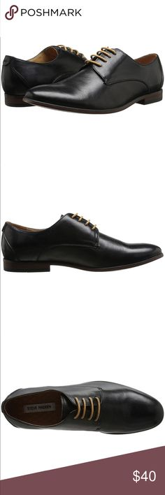 Steve Madden Mens Trotter Oxford Shoes Instantly enhance your professional style with a definitive plain-toe derby shaped from smooth, burnished leather. * Lace-up style. * Plain toe Oxford. * Leather upper/textile lining/synthetic sole. Steve Madden Shoes Oxfords & Derbys